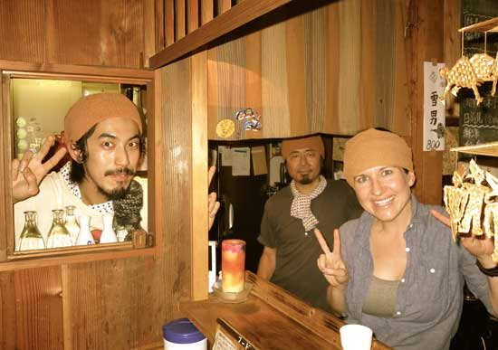 "The author was invited ""backstage"" to pose with Shin Kaneko, Marukyu's owner, and Nosuke Kurihara, and don the requisite towel-headband."