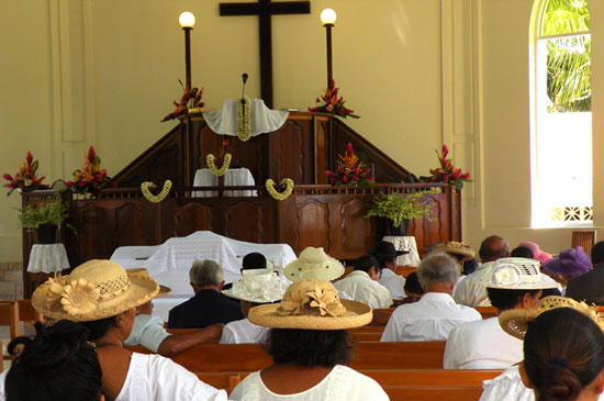 Attending a Protestant church services in French Polynesia. Photo by Annie Palovcik