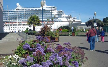 The Crown Princess docks in California