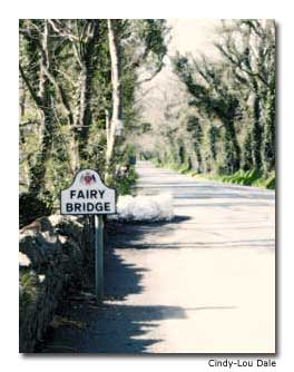 "The Fairy Bridge lies on the island's main Douglas–Castletown Road. For a pleasant visit, say ""good day"" to the fairies."