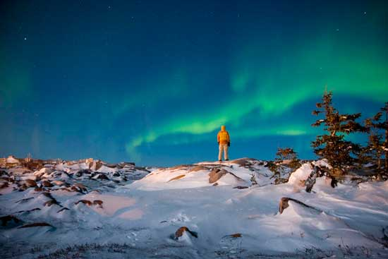 Viewing the Northern Lights. Photo courtesy Travel Manitoba