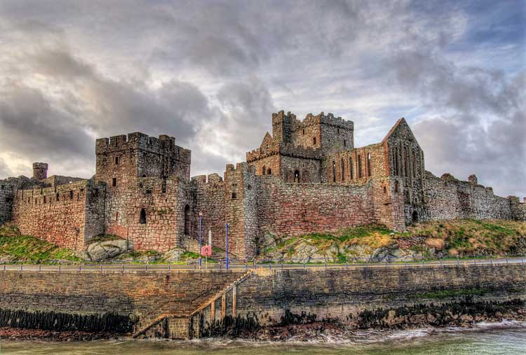 Peel Castle on the Isle of Man in Scotland