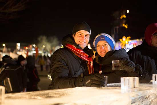 Staying warm at the Quebec Winter Carnival. Photo courtesy of Quebec City Tourism