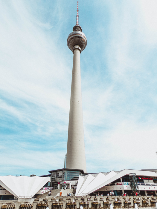 The TV tower stands tall over Alexanderplatz in Berlin, Germany