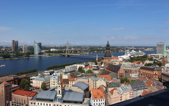 The Daugava River runs through Riga, the capital of Latvia.