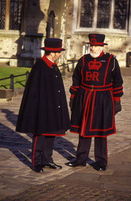 Yeoman Warders chat at the Tower of London. Photo by Bob Ecker