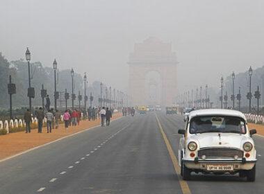 Driving in New Delhi, India.