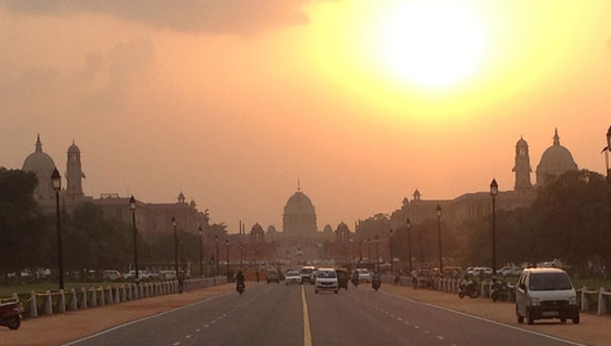 Driving at sunset in India.