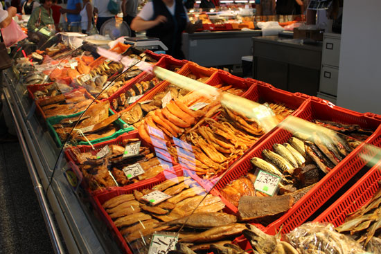 Cases filled with smoked fish in Riga's huge Central Market.