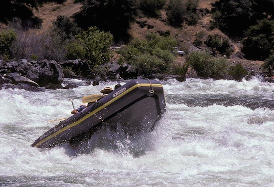 Rapid river rafting Merced River, California