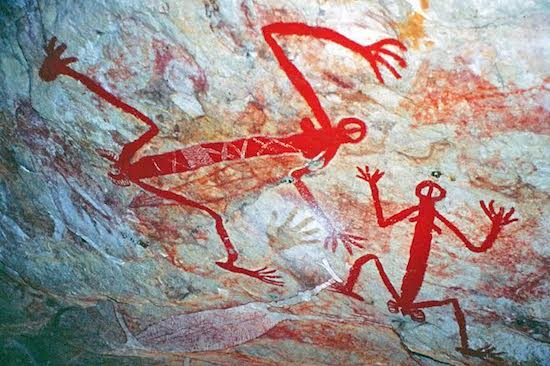 Aboriginal cave art in the Northern Territory.