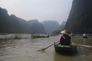 Rowing Through Rice Fields in Vietnam