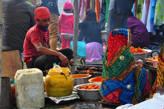 Street food straight from the wok at a weekend market of Siliguri, West Bengal. Photo by Mukul Satya Gupta
