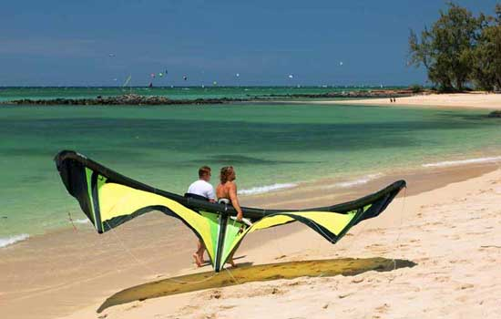 Kanaha Beach kite boarding. Photo by Douglas Bowser
