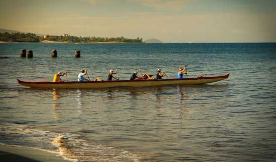 Outrigger Canoe at Kihei Warf. Photo by Douglas Bowser