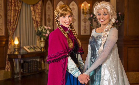 Anna and Elsa at Princess Fairy Tale Hall. Photo by Walt Disney World
