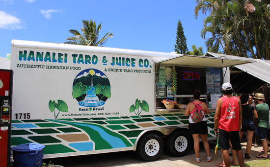 There are many small food trucks like Hanalei Taro & Juice Co. that offers tasty Hawaiian food. Photo by Janna Graber
