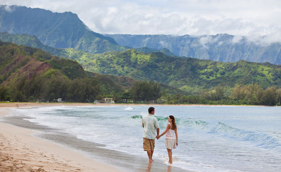 Kauai is a popular destination for honeymoons and romantic vacations.