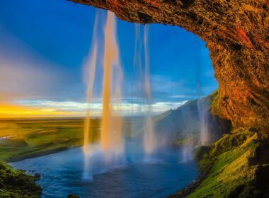 One of Iceland's top waterfalls, Skógafoss is located on the Skógá River in the south of Iceland at the cliffs of the former coastline