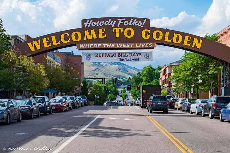 Welcome sign in Golden, Colorado