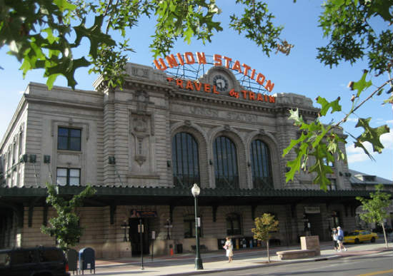The exterior of Union Station in the summer.