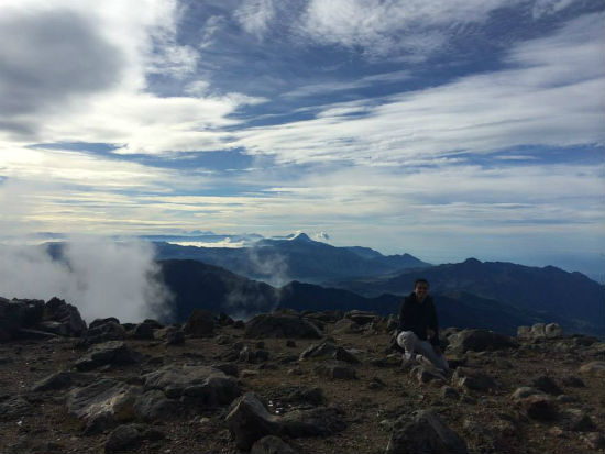 Hiking in Guatemala. Reaching the summit of Tajumulco.