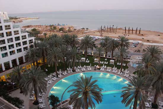 A hazy view of the Dead Sea from my resort window. Jordan lies just across the water. Photo by Janna Graber