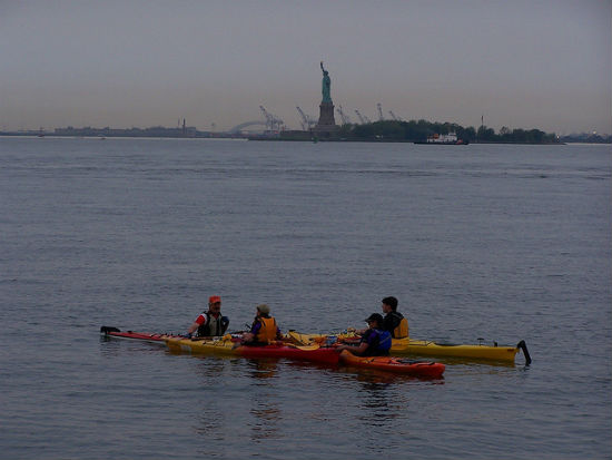 There are companies that offer guided kayaking around New York.