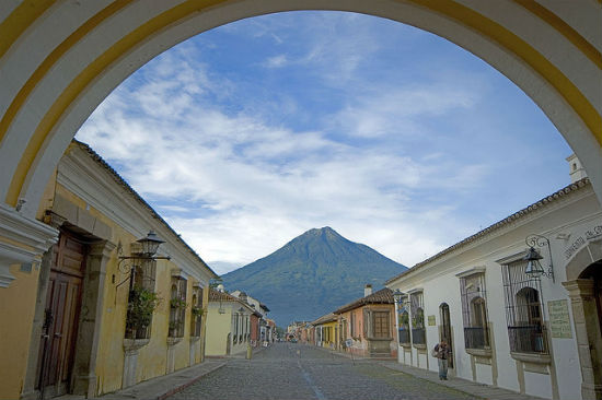 Hiking in Guatemala. The Agua Volcano can be seen prominently from town.