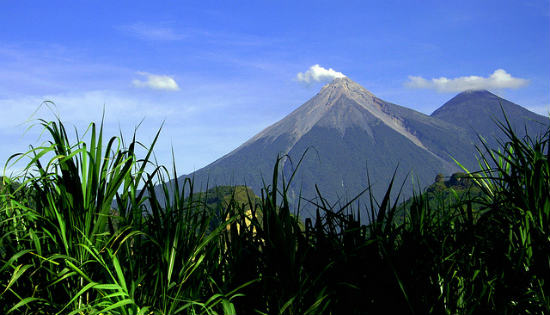 The Acatenango Volcano seen from the ground.