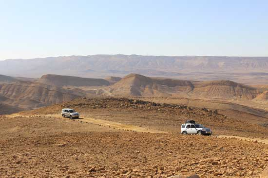 Taking a jeep tour across the Ramon Crater in Israel. Photo by Janna Graber
