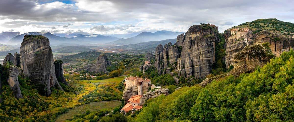 The valley of the Meteora monasteries