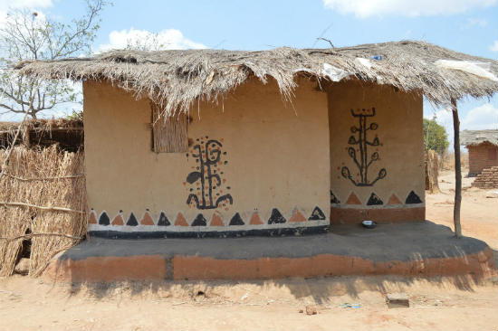 The decorations on the wall are a part of vernacular architecture.