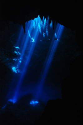 Diving in The Pit, Cenotes, Yucatan - The divers use the light from the entrance.