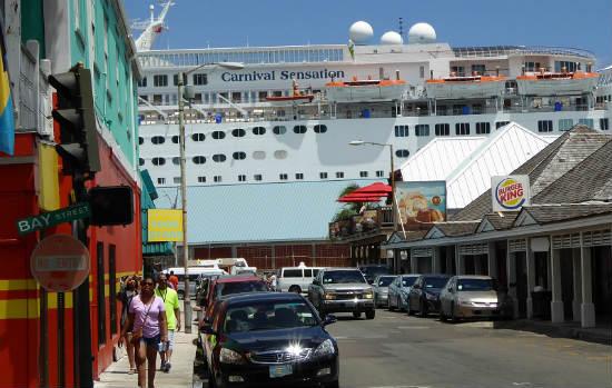 Cruise ships dock near Nassau.