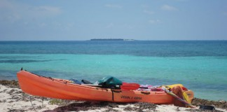Fort Jefferson can be seen in the distance from the beach at Loggerhead Key.