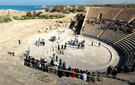 People can explore the restored amphitheater.