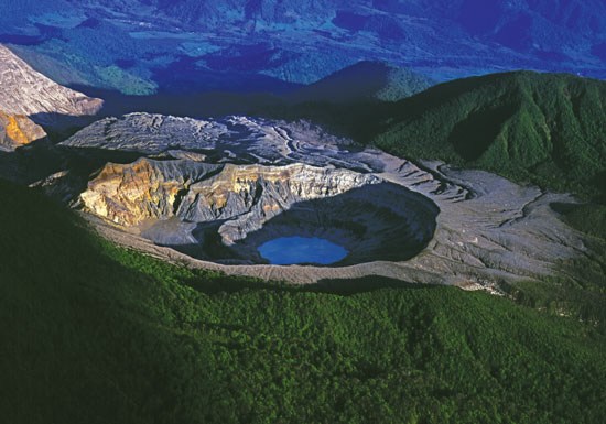 Viewing volcanoes is popular in Costa Rica.