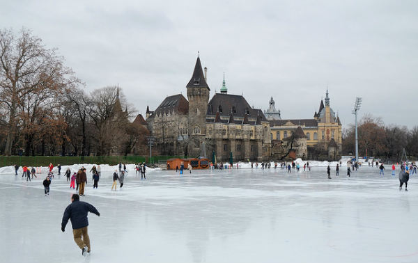 In the winter you can skate on the frozen lake.