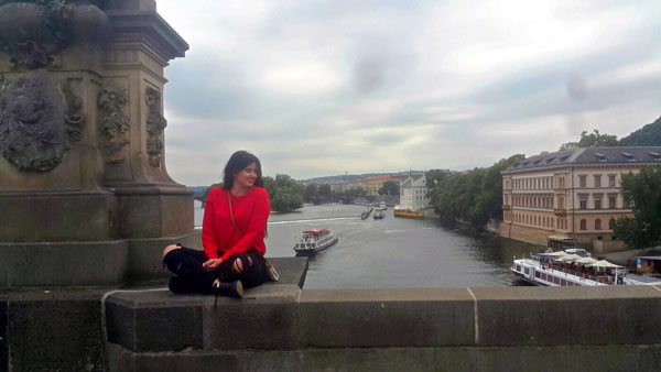 The author on the Charles Bridge in Prague. Photo courtesy Paula Naoufal