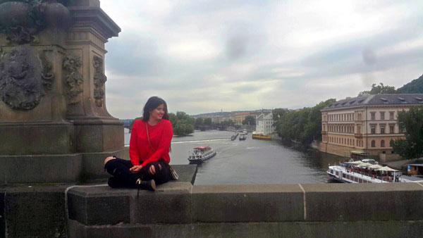 The author on the Charles Bridge in Prague. Photo courtesy Paula Naoufal