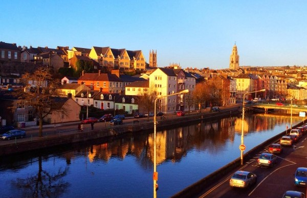 Travel in Cork, Ireland. The Cork Shandon Tower can be seen from a distance.