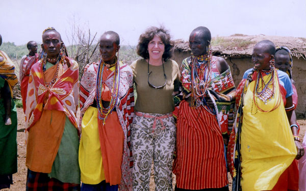 The author meeting with locals in Kenya. Photo courtesy Irene Middleman Thomas