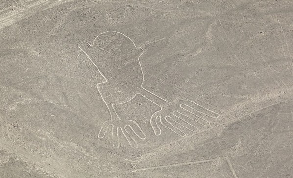 Nazca Desert in Peru is famous for its mysterious huge drawings.
