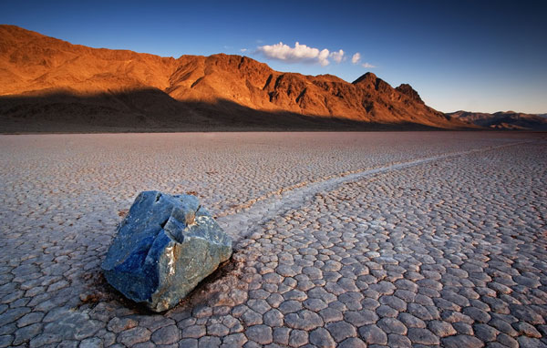 In California's Death Valley, huge stones were moved by unknown forces, leaving long traces.