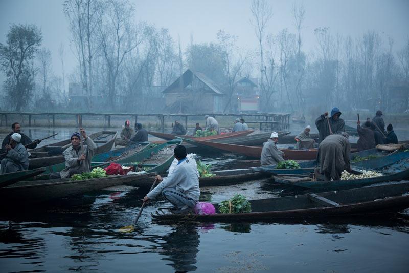 Vendors selling produce at Dal Lake in Kashmir