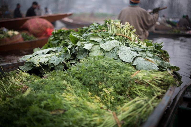 Fresh organic produce at floating market in Kashmir