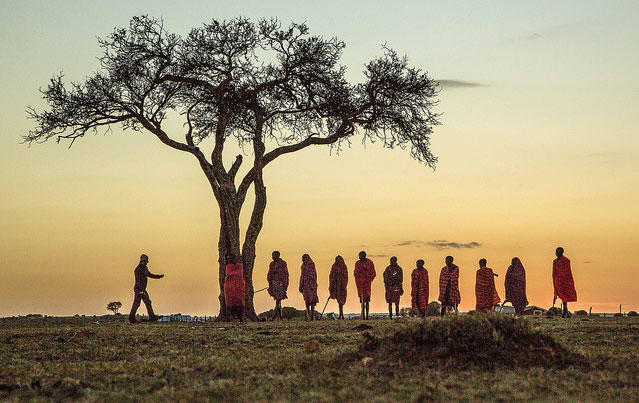 Travel Kenya - Maasai warriors at sunset in Kenya. Flickr/jeaneeem