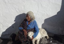 Travel in Ecuador - An elderly woman and her beloved dog in the Plaza San Francisco. Photo by Irene Middleman Thomas