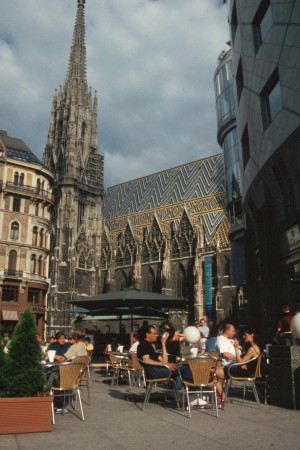 Having coffee outside by St. Stephen's Cathedral in Vienna